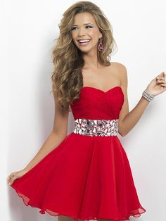 Customized Stock Red Chiffon Sweetheart Prom by vilavicraft