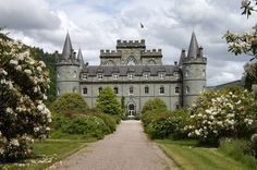 Inveraray Castle, Scotland -- seat of the Clan Campbell!  Unfortunately, the Clan Chief was too busy to share a cup of tea but we at least got to walk the grounds a bit.