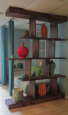 Similar to what we are planning on building for our living room.     Bookshelf/Room Divider by MountainAwe on Etsy, $475.00