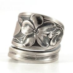 Violet Ring, Sterling Silver Spoon Ring, La Viola Souvenir Spoon, Vintage Spoon Ring, African Violet Jewelry, Adjustable Ring Size (5718) by Spoonier on Etsy