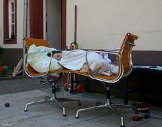 "Sleeping in an ""Aluminium Bed"".  Eames Aluminium Chairs by Vitra"