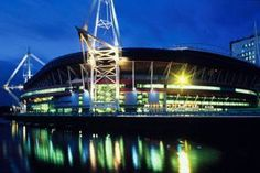 Cardiff Rugby Stadium, literally right across the river from the Hostel I stayed in :) Places To See, Places Ive Been, Cities In Wales, Olympic Football, Millennium Stadium, Olympic Venues, Cardiff Wales, Sydney Harbour Bridge, Marina Bay Sands