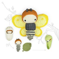 This Crochet Pattern yellow Butterfly lalylala Brimstone Amigurumi is just one of the custom, handmade pieces you'll find in our tutorials shops. Crochet Amigurumi, Amigurumi Patterns, Crochet Dolls, Doll Patterns, Crochet Butterfly, Butterfly Wings, Monarch Butterfly, Cocoon, Butterfly Life Cycle