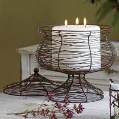 Apothecary 3-wick #Candle Holder, decorative basket, lid, food safe