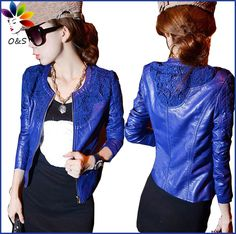 Buy from china:Jaqueta Couro 2014 Ladies Shining Washing Leather Coat Women Slim Lace Patchwork PU Leather Jacket Free Shipping