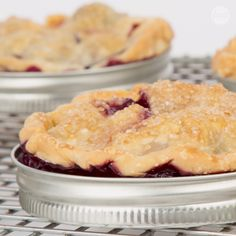 Bake individual sized Blueberry Peach Pies by using the lid of a mason jar! This kitchen hack is definitely a keeper!