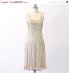ON SALE 1920s Flapper Dress, Pale Green Sheer Silk & Metallic Embroidered Net Lace 20s Dress, Great Gatsby Dress ETSY