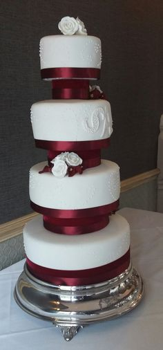 White and Burgundy Wedding Cake - Love the cake stand so much; it was stunning a really added to the height Wedding Favours, Wedding Cakes, Burgundy Wedding Cake, Luxury Cake, Chocolate Stout, Fondant Icing, Marzipan, Favors, Touch