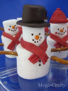 Marshmallow snowmen. So cute!