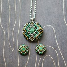 Art Deco geometric cross stitch necklace and earring set, Emerald