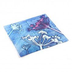 Gillian Arnold Cow Parsley Blue Glass Coaster Set