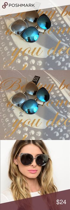 Silver Frames Fashion Mirrored Sunglasses Mirrored sunglasses with a silver frame. Choice of two lens colors blue or gray. Choose color when checking out Bchic Accessories Sunglasses