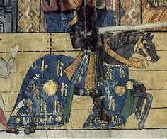 """Henry VIII celebrates the birth of his son Prince Henry before his Queen, Katherine of Aragon at a tournament held in February 1511. This is from the contemporary record of the occasion, the College of Arms MS known as """"the Great Tournament Roll of Westminster"""". Henry styled himself Coeur Loyal. His horse's trapper bears a heart device surrounded by the letters 'h' and 'k' for himself and his queen. LOYALL appears at the bottom of the trapper -- but what of the hand (bottom left)?"""