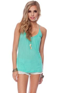 Now and Henley Tank Top in Emerald $21 at www.tobi.com