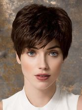 Brune perruque de fibre résistant à la chaleur tout droit court pour femme