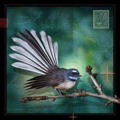 Fantail (temporarily framed only) Linocut Prints, Art Prints, Block Prints, Altered Canvas, New Zealand Art, Nz Art, Maori Art, Encaustic Art, Bird Drawings