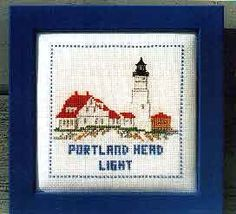 Cross stitch pattern for Portland Head Lighthouse | Counted crosstitchpatterns and kits featuring lighthouses and Maine ...