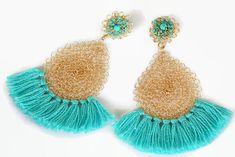 Fringe Earrings Turquoise Blue Gold Wire Crochet Bohemian Jewelry #handmade #jewelry #boho #earrings