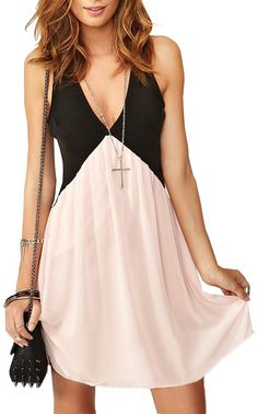 Relaxed Style Contrast Color Back Hollow-out Deep V Neckline Chiffon Dress