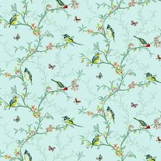 Dolls House   Wallpaper 1/12th or 1/24th scale Birds Quality Paper Duckegg Miniature   #324