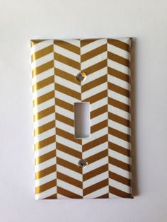 Items similar to Gold Decor / Metallic Gold White Chevron Single Light Switch Plate / White Gold Bedroom Decor / Gold Nursery Decor / Gold Bathroom on Etsy White Gold Bedroom, White And Gold Decor, Black And Gold Bathroom, Gold Nursery Decor, Gold Home Decor, Coral Nursery, White Nursery, Home Bedroom Design, Bedroom Ideas