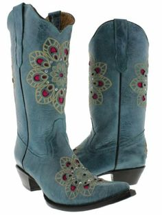 Cowboy Professional - Womens Turquoise Genuine Leather Cowboy Boots Flower with Rhinestones Size 9.5 Cowboy Professional Boot Company,http://www.amazon.com/dp/B00E1MNAYQ/ref=cm_sw_r_pi_dp_5bP8rb0NX08K68GY