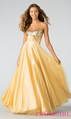 Full Length Strapless Formal Gown at PromGirl.com