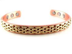 Brass Basket Weave Copper Magnetic Bracelet