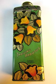 Vintage ART DECO Trailing Arbutus Talcum Powder Tin Harmony Boston