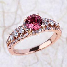 Pink Tourmaline Diamond Halo Engagement Ring - 6x6mm Round Pink Tourmaline Wedding Ring - Halo Diamond Ring - 14k Rose Gold Engagement Ring by EJCOLLECTIONS on Etsy https://www.etsy.com/uk/listing/236051072/pink-tourmaline-diamond-halo-engagement