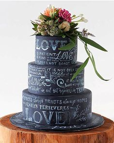 I bet those who seek uniqueness would love this chalkboard inspired tiered cake…