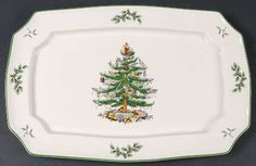 Spode Christmas Tree (Green Trim) at Replacements, Ltd Spode Christmas Tree, Christmas Dishes, Christmas Time, Fine China Dinnerware, Serving Platters, Decorative Plates, Christmas Decorations, Tableware, Green