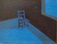 TABLEAU PEINTURE chaise solitude lune attente Architecture Peinture a l'huile  - Après la solitude