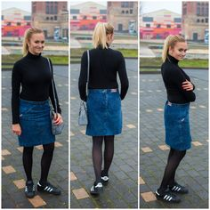 In love with roll necks! Perfect for winter - easy to create a simple and confortable look. I wear my mum's jeans skirt and my classic black Adidas Superstar with the white stripes. See more on resplendentoutfit.blogspot.de