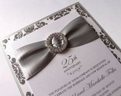 Embellished Paperie: 25th Anniversary Invitations, Silver and White Damask