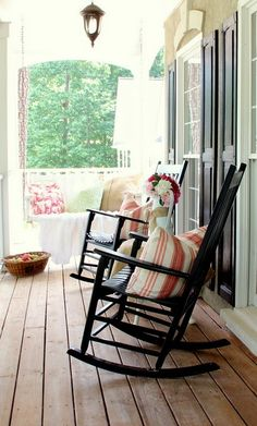 Covered porch is a must. I'm thinking my dogs, a glass of sweet tea and watching the rain fall. Yes, please.