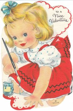 Shop Vintage Valentine Girl Painting Holiday Postcard created by tyraobryant. Personalize it with photos & text or purchase as is! My Funny Valentine, Valentine Images, Valentines Greetings, Vintage Valentine Cards, Vintage Greeting Cards, Valentine Day Cards, Vintage Postcards, Happy Valentines Day, Valentine Stuff
