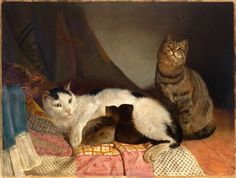 Unknown artist (English school, 19th century) - Cat Family - Oil on canvas