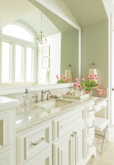 Master Bathroom Vanity Soft Green with White Cabinetry, Quartzite Counters A beautiful master bathroom retreat just for mom with a seaside feel in soft blue-green and sand Master Bathroom Vanity, Small Bathroom, Bathroom Mirrors, Mirror Vanity, Wooden Bathroom, Diy Vanity, Budget Bathroom, Bathroom Ideas, Bathroom Remodeling