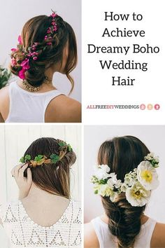 bohemian wedding hair How to Achieve Dreamy Boho Wedding Hair Half Up Wedding Hair, Bohemian Wedding Hair, Beach Wedding Hair, Vintage Wedding Hair, Wedding Updo, Wedding Hairstyles For Long Hair, Boho Hairstyles, Bridal Beauty, Wedding Looks