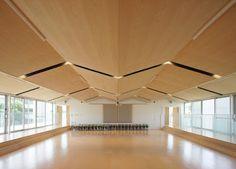 3階遊戯室。床はフラットを考えたが、この広さでは天井高が低く感じるため床を2段下げた。それにより椅子がなくても園児が座ることができ段差が生まれた。また天井もできるだけ上げようと梁を避けて山型の天井にした。 床材はロシアンバーチ、天井はタモ。japan-architects.com: 納谷建築設計による「昭和女子大付属 昭和こども園」
