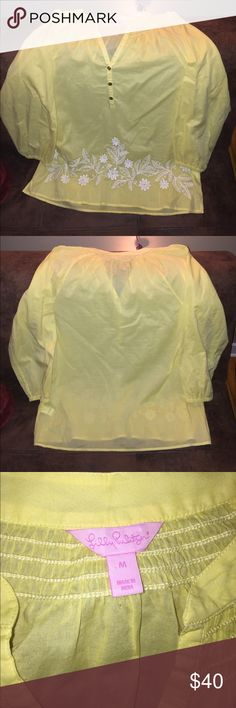 Lilly Pulitzer Peasant Blouse (Only worn once) This lightweight top is awesome for spring and summer! It's super versatile and great for a ton of occasions! Feel free to make me an offer! Lilly Pulitzer Tops Blouses