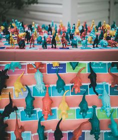 Dinosaur Escort Cards // Absolutely obsessed with this colorful dinosaur-themed wedding! If I could do my wedding over... ;)
