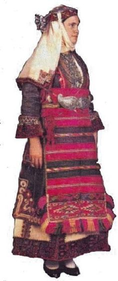 The traditional festive costume of Kapoutzida (N. Greece). 19th c.
