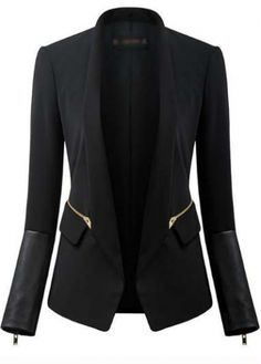 Work Essential Long Sleeve Solid Black Blazer for Woman