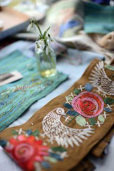 Design inspiration...Folk art bird and roses embroidery