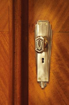 Original Art Deco door handle - Manchester Unity Building, Melbourne. Strong geometric lines feature within this simple, elegant Art Deco design.