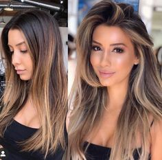 40 Color Hairstyles Before and After in 2019 - Vida Joven Blond Mi-long, Brown Blonde Hair, Brown Hair With Highlights, Blonde Highlights, Face Frame Highlights, Dark To Light Hair, Dark Hair, Light In The Dark, Shot Hair Styles