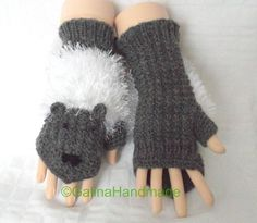 Funny Knit Mouse Mittens Fingerless Gloves Women by GalinaHandmade