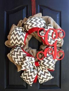 Burlap Chevron Wreath